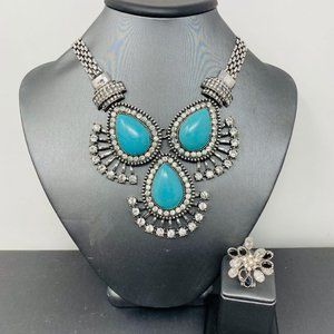 Turquoise Rhinestone Statement Necklace